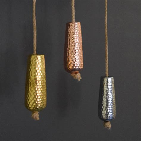 Metallic Copper, Gold And Silver Bathroom Light Pull By
