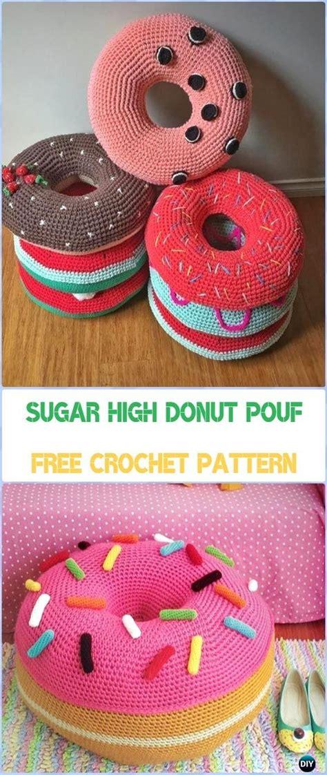 crochet poufs ottoman  patterns diy tutorials