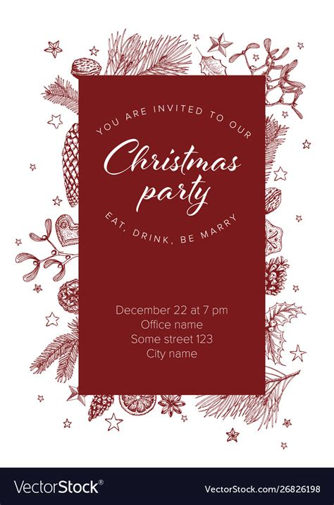 Christmas party invitation template Royalty Free Vector