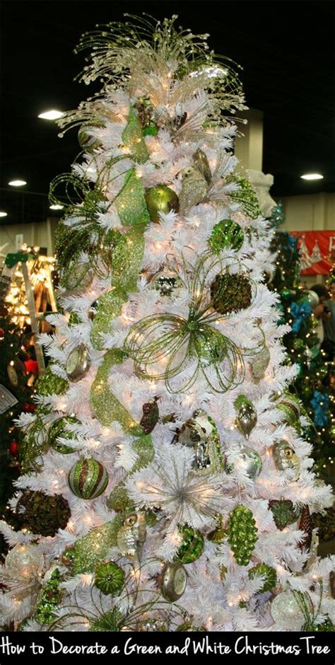how to decorate a green and white christmas tree