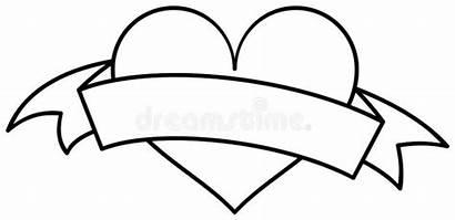 Heart Ribbon Outline Coloring Valentine Profilo Nastro