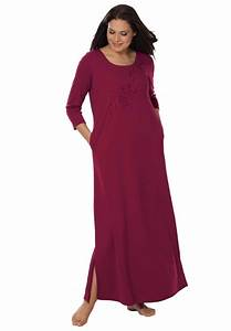 Embroidered knit lounger by Only Necessitiesu00ae | Plus Size Loungewear | Woman Within | BBW ...
