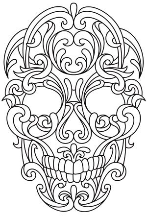 scrollwork skull urban threads unique  awesome