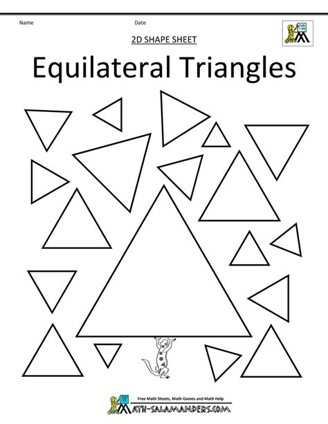different types of triangles worksheet free worksheet