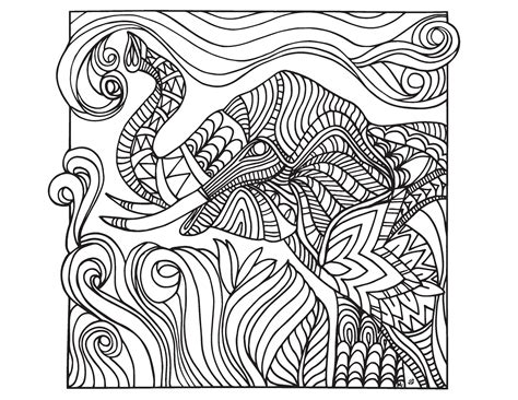 Grown Up Colouring Sheet- Elephant