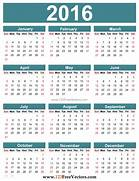 Yearly calendar 2016 t...
