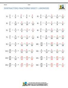 worksheet works fraction subtraction answers adding subtracting fractions worksheets