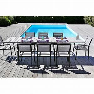 Table De Jardin 8 Places : ensemble de jardin en aluminium 8 places table extensible gris achat vente salon de ~ Teatrodelosmanantiales.com Idées de Décoration