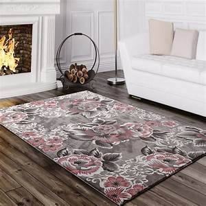 Teppich Grau Rosa : designer teppich blumen grau rosa design teppiche ~ Indierocktalk.com Haus und Dekorationen