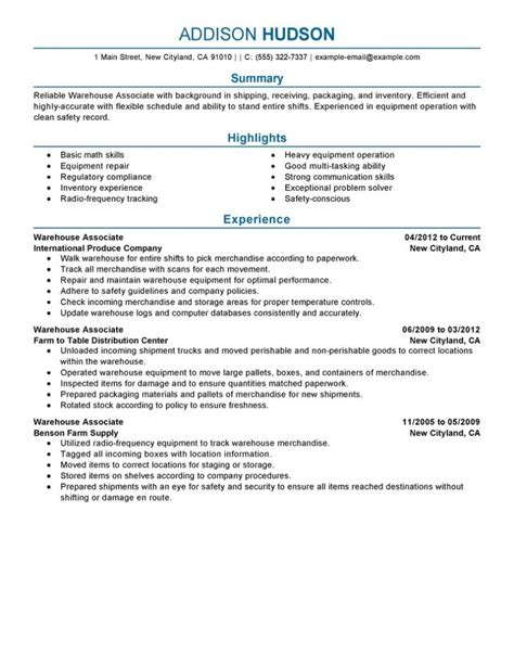 warehouse associate resume exle