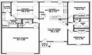 3 bedroom ranch floor plans 3 bedroom one story house With three bedroom house floor plans