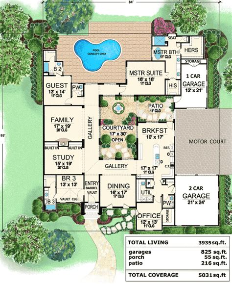 center courtyard house plans tuscan luxury