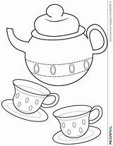 Coloring Teacup Tea Cup Printable Teapot Drawing Useful Template Beauty Beast Hatter Mad Drawings Adult Getcolorings Clipart Templates Sketch Crafts sketch template
