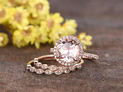 carat  morganite bridal set  rose gold diamond