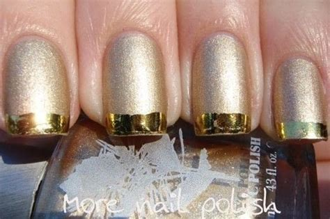 metallic french manicure  nail art foil   paint