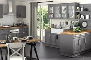 Deco cuisine gris et bois for Idee deco cuisine avec cuisine bois et gris