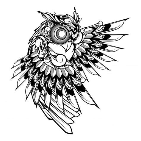 owl doodle ornament illustration tattoo  tshirt design