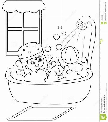 Shower Taking Bath Clipart Boy Coloring Take