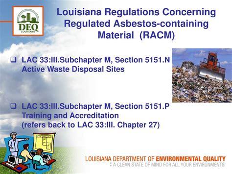 regulating asbestos  louisiana powerpoint
