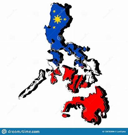 Philippines Flag Map Vector Illustration Sketch Clipart