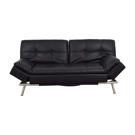 black leather sofa futon 83 off black leather chesterfield futon sofas