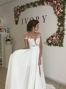 elegant lace appliques 2017 wedding dress long chiffon With wedding dress with split