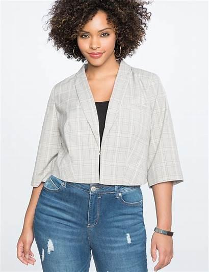 Blazer Plaid Cropped Eloquii Jackets Blazers Womens
