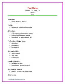 basic resume sles for college students exle of simple resume for student