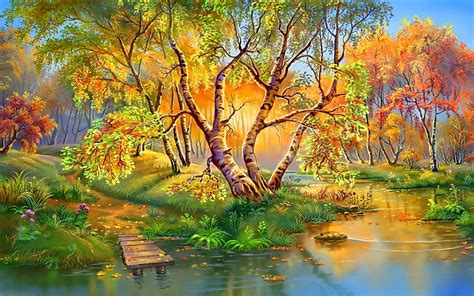 Beautiful Autumn Landscapes Wallpapers by Autumn Beautiful Landscape Nature Birch Trees River