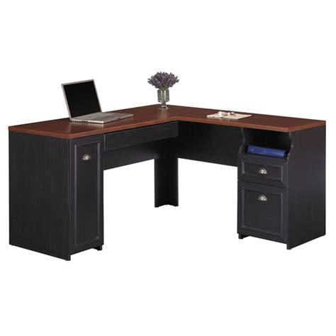black wood computer desk bush furniture fairview l shaped wood black computer desk