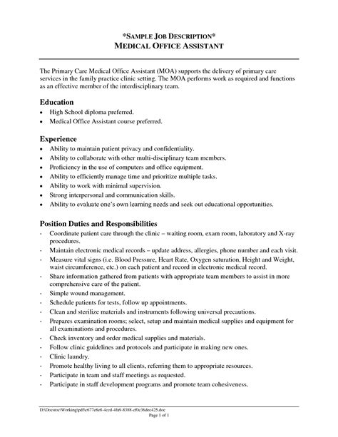sample of resume with job description office assistant job description resume 2016