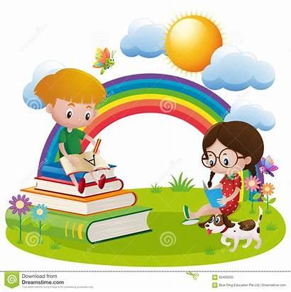Writing Reading Garden Vector Clipart Illustration Child