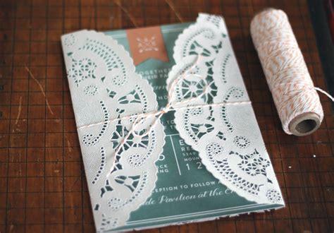 love diy  lace doily wedding invitation sleeve
