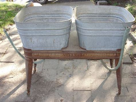 Antique Wheeling Double Galvanized Wash Tub/tubs With