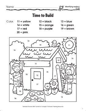 time to build identifying numbers 11 20 printable