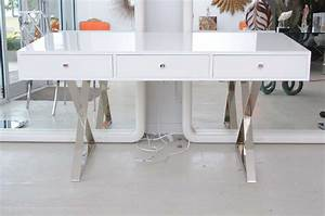 Marvelou Modern White Lacquer Desk Modern Desk With Storage For Small Space