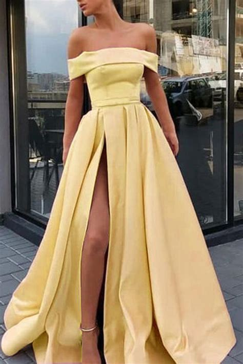 shoulder satin high slit yellow prom