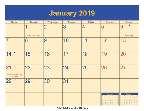 January 2019 Calendar Printable With Holidays Pdf And Jpg