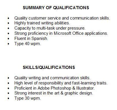 qualifications to put on a resume summary of qualifications for students