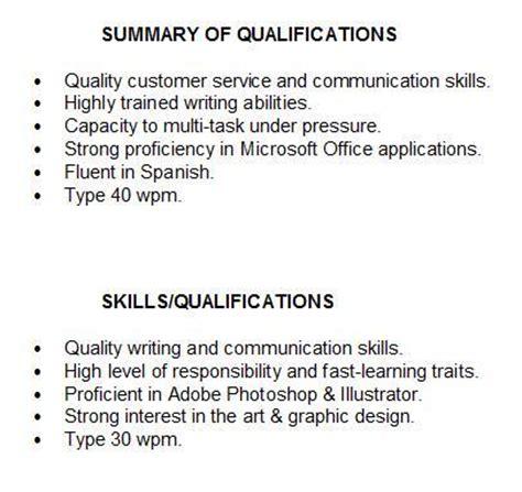 summary  qualifications resume