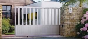 Portail En Fer Lapeyre : portail coulissant blanc en aluminium photo 2 20 un ~ Premium-room.com Idées de Décoration
