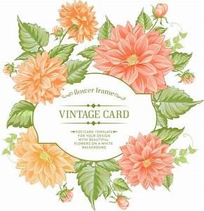Vintage frame with orange flowers Vector | Premium Download