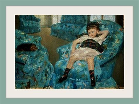 Museum Art Needlepoint Little Girl In A Blue Armchair By