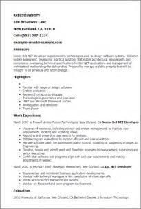 senior dotnet developer resume sle professional senior dot net developer templates to