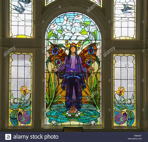 angel  purity window art deco stained glass