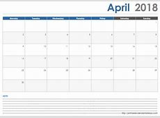 April 2018 Calendar with Space Note Printable 2017 2018