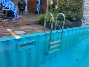 Free Deck Plans For Above Ground Pool by Shipping Container Pool 7 Years Out Theepic