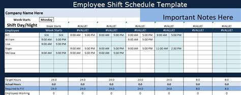 employee shift schedule template project management