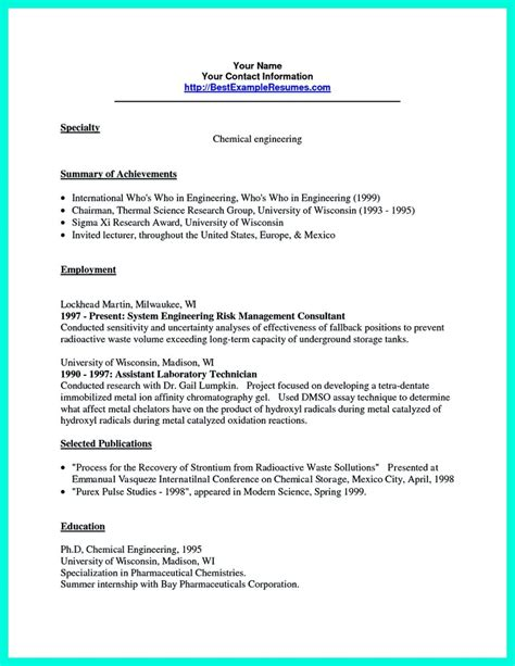 successful objectives  chemical engineering resume