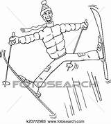 Ski Coloring Jump Fotosearch Clipart Jumping Illustrations Cartoon Funny sketch template